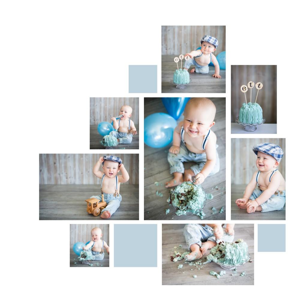 Collage ettårsfotografering smash the cake Fru Thorsell Fotografi