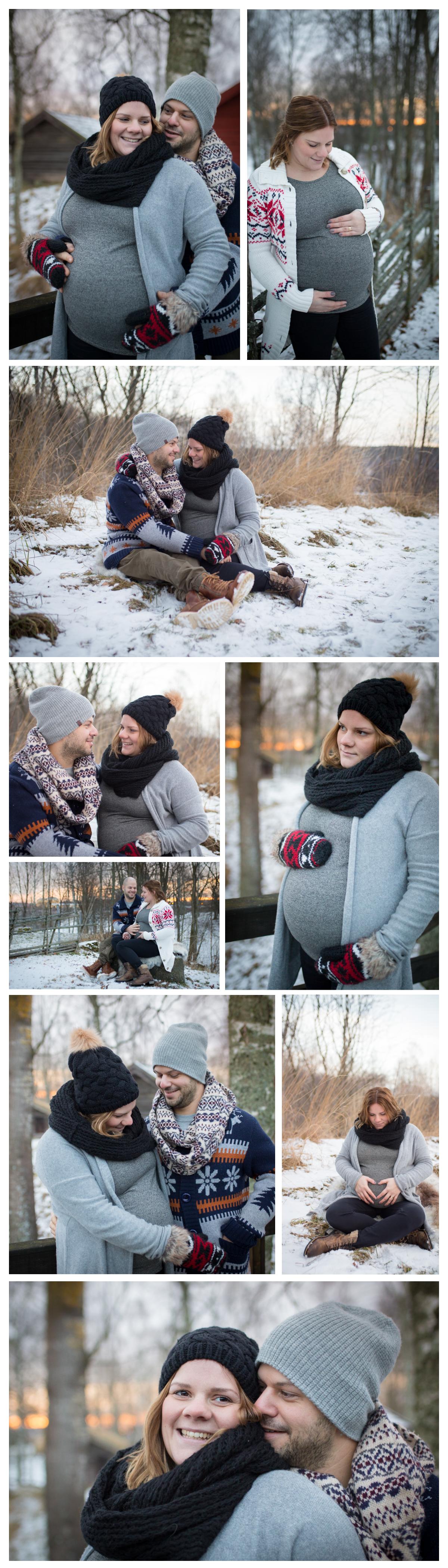 Gravidfotografering med vinterkänsla borlänge dalarna